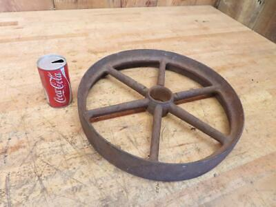 Antique Vintage Cast Iron 16 X 3 Wheel Pulley Great Garden Wheel
