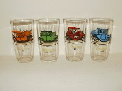 Antique Cars Vintage Cars Collectible Cars Glass Ware Drinking Glasses set- 4