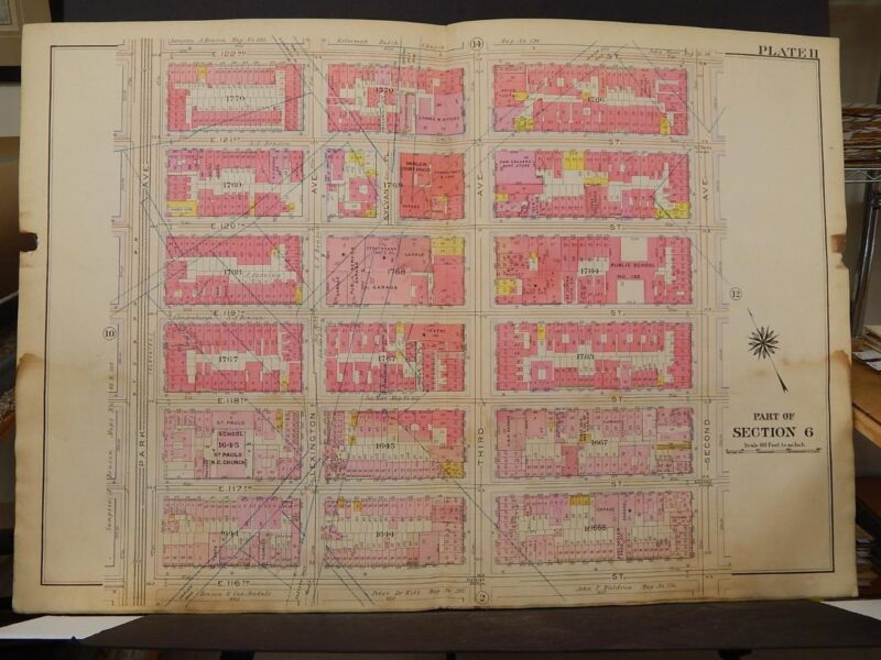 New York, Manhattan Map, 1914 Park to 2nd Ave, St Pauls R3#82