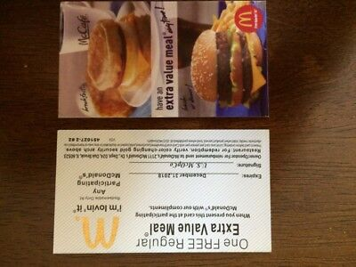2 MCDONALDS EXTRA VALUE MEAL  Certificate 2018