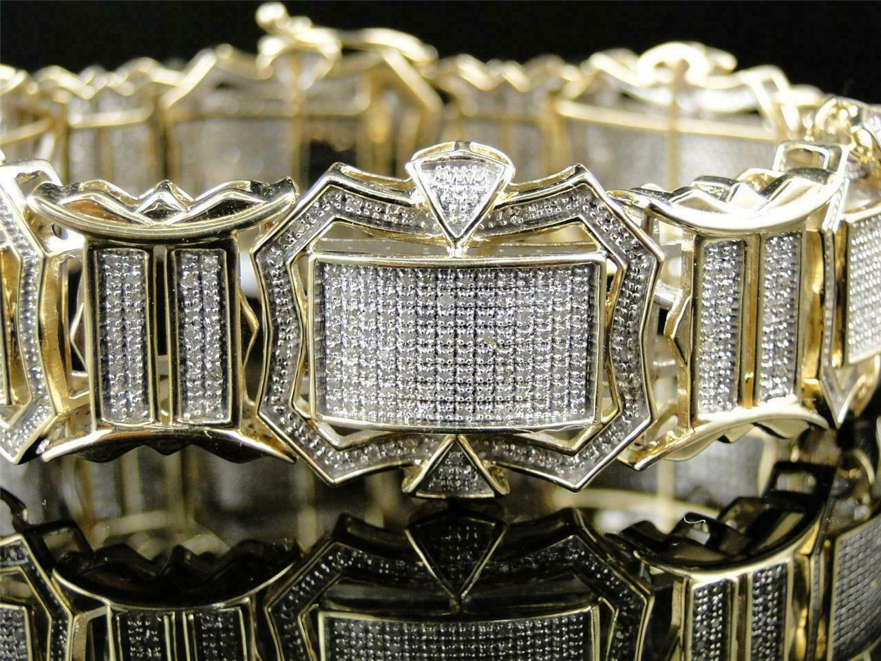 12CT Diamond 14K Men's Yellow Gold Over Engagement Exclusive Tennis Bracelet 1