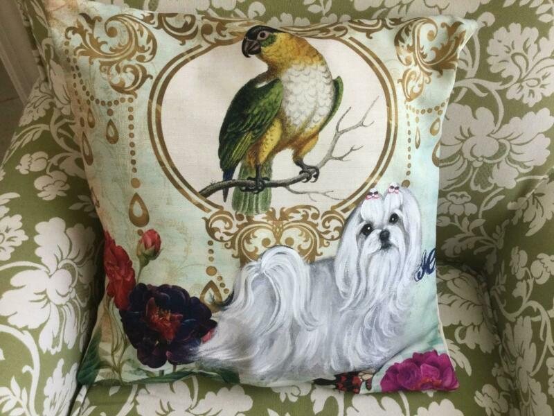 MALTESE HAND PAINTED PILLOW SUPERB!