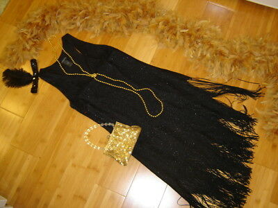 1920s twenties flapper costume black lace fringed dress gold boa sz 8 Gatsby