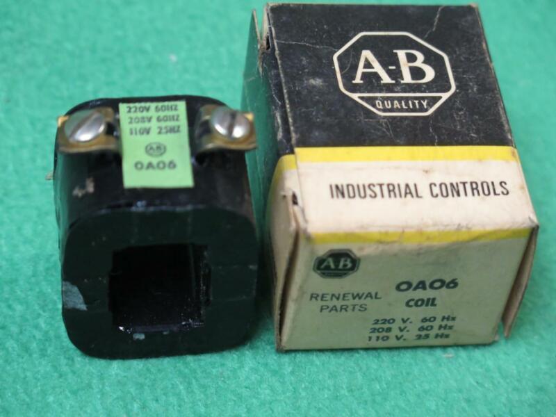 A-B ALLEN BRADLEY OA06 COIL 220/208V 60 Hz 110V 25 Hz MAGNETIC MOTOR CONTROL NOS