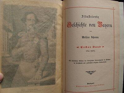 Schwann: Illustrierte Geschichte von Bayern, 1890 - kpl. in 3 Halblederbänden