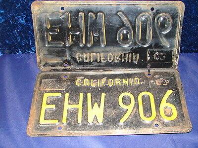 Vtg 1963 Pair Ca Automobile License Plates Id Tags  Ehw 906  Dmv Clear  Classic
