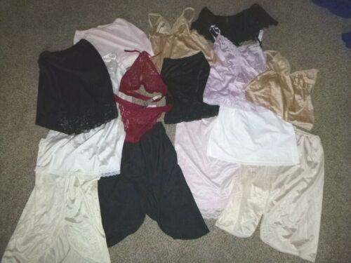 Lot of 16 Pc Lingerie~Camisoles~Half Slips~Garter Belt~ Panty & Bra Set Sz S