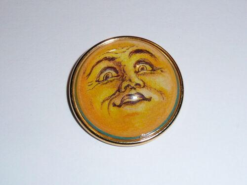 "Adorable Moon Face Domed Shank Button 1-1/2"" Gold Bezel - MoonFace Button"