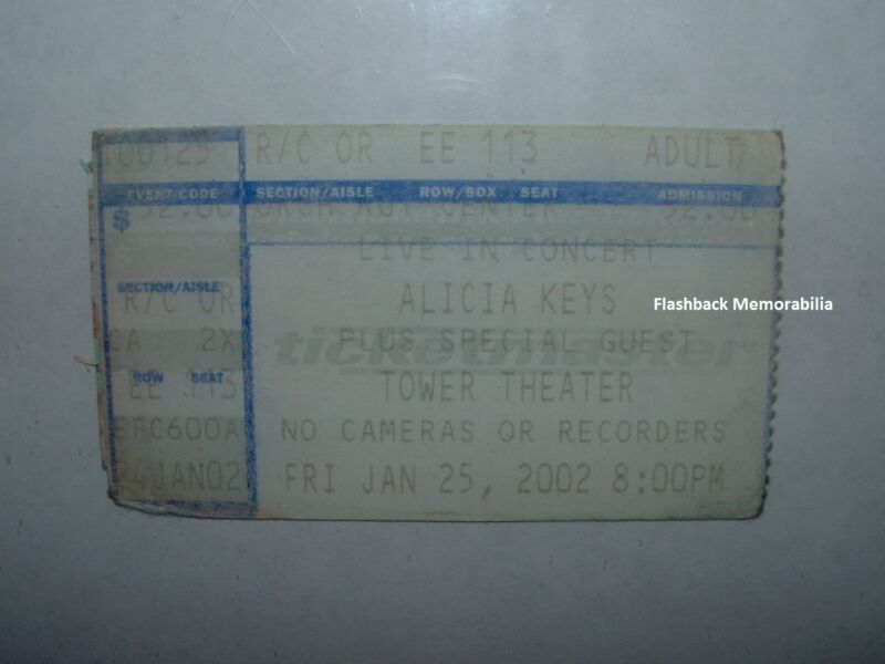 ALICIA KEYS Concert Ticket Stub 2002 TOWER THEATRE PHILADELPHIA Very Rare