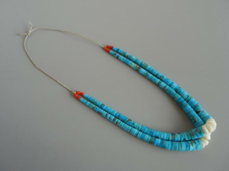 "Vintage Jacla 20"" Necklace 2 Strand Turquoise Santo Domingo"