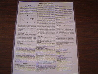 2 Detailed Snooker Rules and Regulations Non-Laminated Posters. 2 For 1 Price
