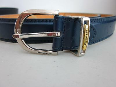 """VERSACE AUTHENTICATED NAVY BLUE LEATHER BELT GOLD Buckle 39"""" without buckle 42"""""""