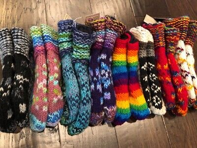 Hand Knitted Fair trade Wool Socks House Bed Slipper Warmer Fleece Boot Nepal SP - Hand Knitted Wool