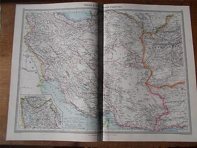 Antique c1904 Colour Map of PERSIA & THE AFGHAN FRONTIER HARMSWORTH ATLAS