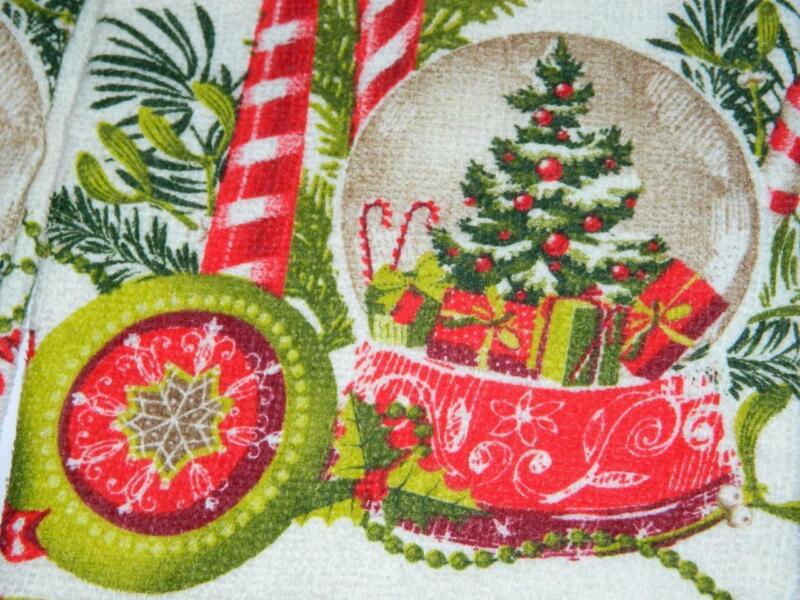 Snowglobe Vintage Xmas 2 Kitchen Towels Dish Candles Ornament Retro Style Glitzy