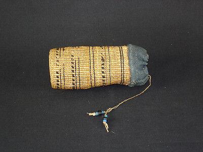 Rare Northwestern Aleutian tobacco bag, American Indian Basket - circa 1890
