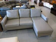 AS NEW!! Leather split 3 seater reversible chaise in brown-grey Springwood Logan Area Preview