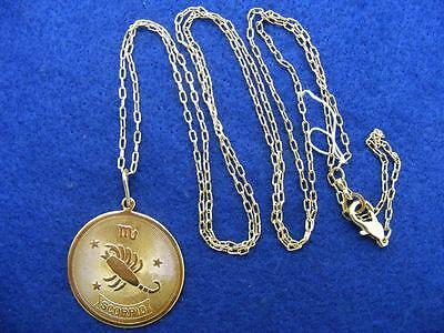 28 Nordstrom Scorpio Horoscope Sign Zodiac Pendant Necklace Goldtone 36  Long