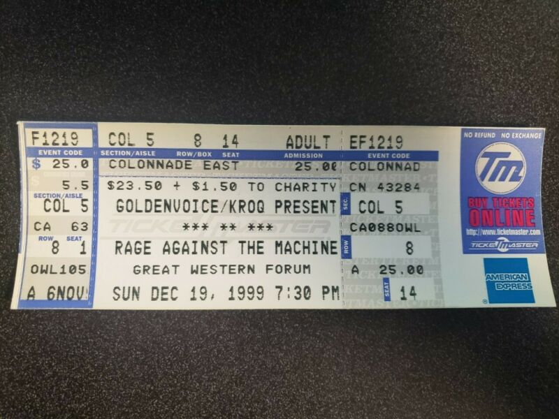 Rage Against The Machine Full Ticket Great Western Forum 12/19/1999