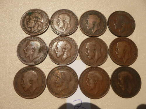Lot of 12 King George V One Penny Coins of England - Lot 2