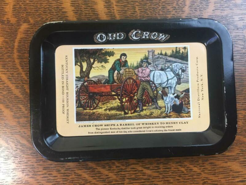 """Vintage Small 6"""" x 4"""" OLD CROW Whiskey Tip Tray Advertising Kentucky Straight"""