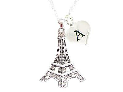 Custom Eiffel Tower Silver Chain Necklace Choose Initial Charm All 26 Letters - Custom Necklace Charms