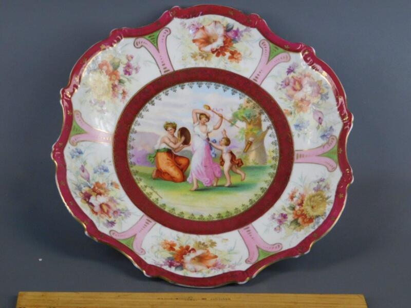 Antique Victoria Carlsbad Austria Neo-Classical Cherub Muse porcelain Platter