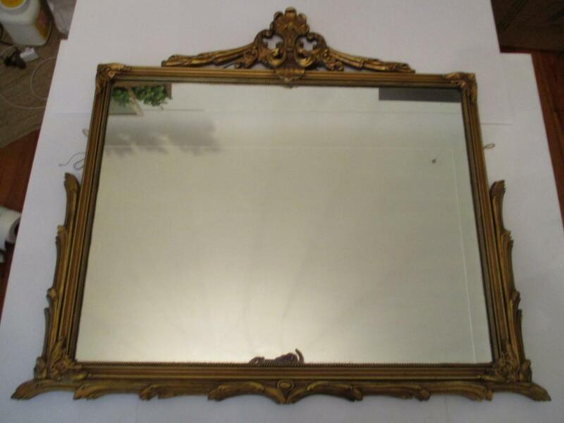 "Antique 26"" x 34"" Ornate Giltwood Framed Mirror"