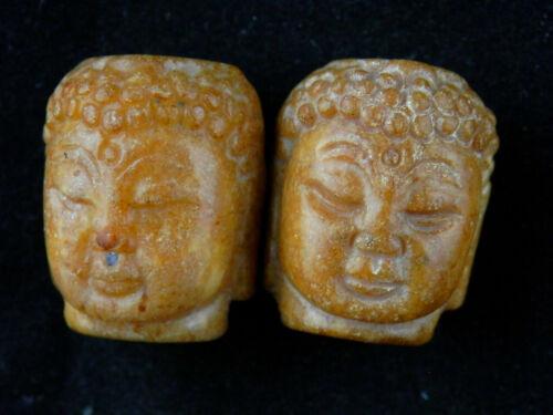 2Pics Chinese Old Jade Hand Carved *Buddha
