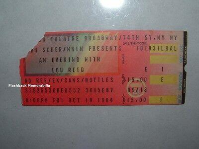 LOU REED 1984 Concert Ticket Stub BEACON THEATRE NYC Velvet Underground RARE