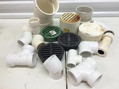 Lot Pvc Pipe Fittings Plumbing Assorted Round Grates And Miscellaneous
