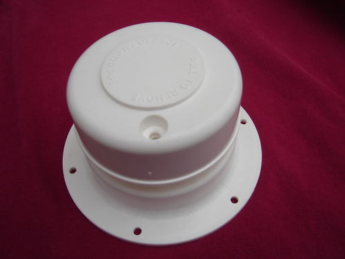 """White plastic plumbing ROOF VENT CAP  RV sewer holding tank 1"""" to 2-3/8 OD pipe"""