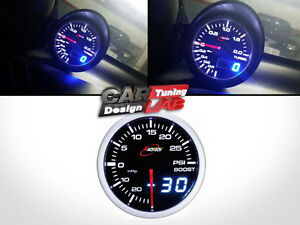 52mm 60mm Digital Dual Gauge Boost Turbo Meter White/Red Smoke LED PSI/BAR
