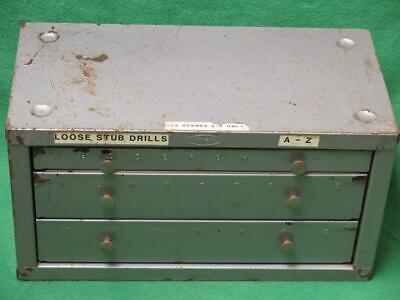 Vintage Huot Drill Bit Letter Index 3 Drawer 28 Compartment Cabinet Dispenser