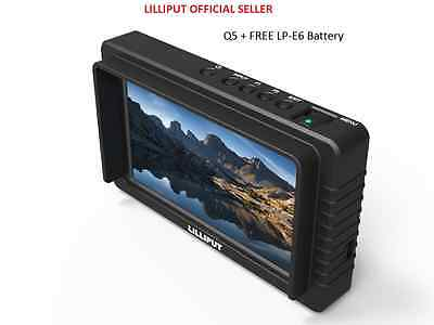 "LILLIPUT 5"" Q5 FULL HD slim Waveform Time code  cross conversion +LP-E6 Battery"