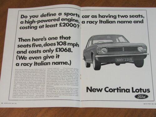 1967 Ford Lotus Cortina (Mk 2) original UK two page advertisement