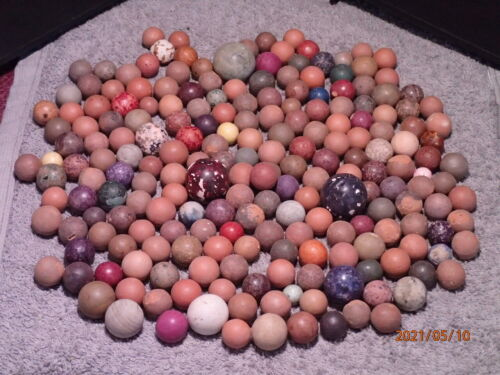 Collection of 200 Vintage Clay Marbles