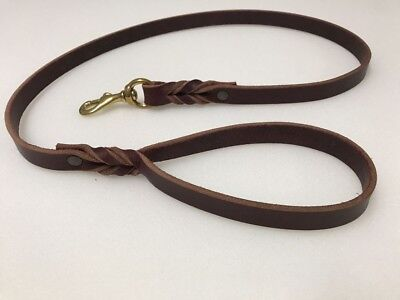 Braided Genuine Leather Dog Leash 6ft long 3/4 Inch Wide Burgundy