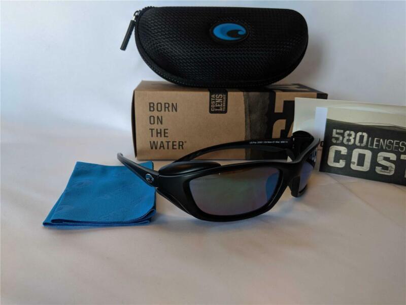 New Costa del Mar Man O War Polarized Wrap Sunglasses Black/Green 580P Rare
