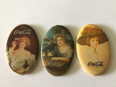 Three (3) 1984 Coca-Cola Small Advertising Pocket Mirrors  VGC NR
