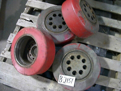 1 Of These 4  Red Forklift Wheels Tires 8id X 5.25w 8 Bolt Fork Lift