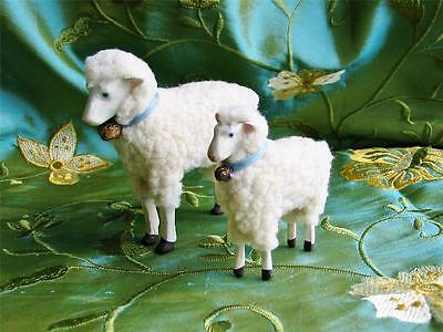 Bethany Lowe Pair of Putz Sheep Lambs Christmas Easter Soft and Wooly