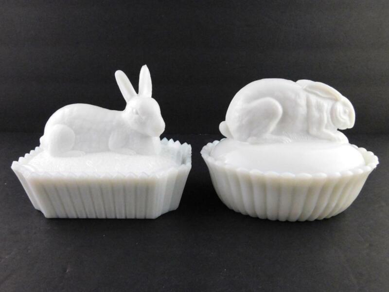 Lot of 2 Westmoreland White Milk Glass Rabbit Lidded Trinket Boxes GOOD COND