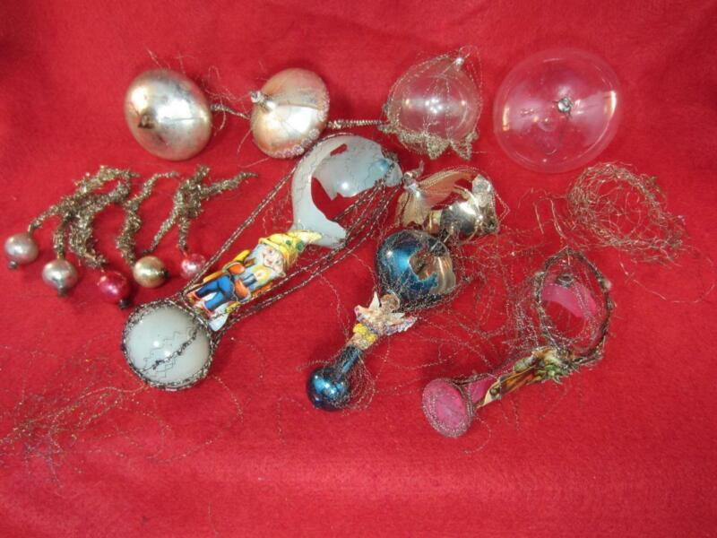 *Antique Wire Christmas Ornament Lot - Blown Glass, Parts for Repair
