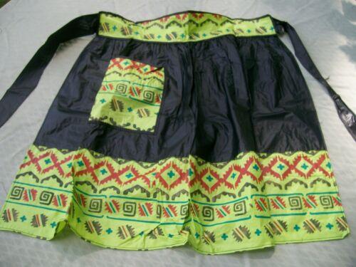 Vintage Plastic Apron Black Green Southwest Design AP172