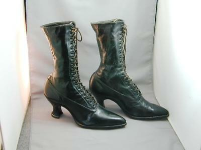 3ccd3815da98 Antique Victorian Black Leather Lace Up Granny Boots Shoes Heels