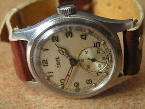 Vintage British Army Contract Wristwatch - A.T.P. by EBEL, S/S Case, Early WW2 - <span itemprop='availableAtOrFrom'>Mazovia, Polska</span> - Vintage British Army Contract Wristwatch - A.T.P. by EBEL, S/S Case, Early WW2 - Mazovia, Polska