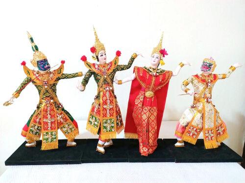 "4 Characters ""Ramayana Epic"" Handmade Thai Origin Vintage From Chiang Mai"