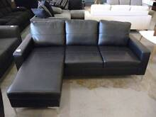 AS NEW!! 3 seater reversible chaise lounge leather split black Springwood Logan Area Preview