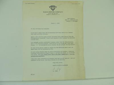 1961 Maico Motor Company Motorcycle Scooter Dealer Letter L2272